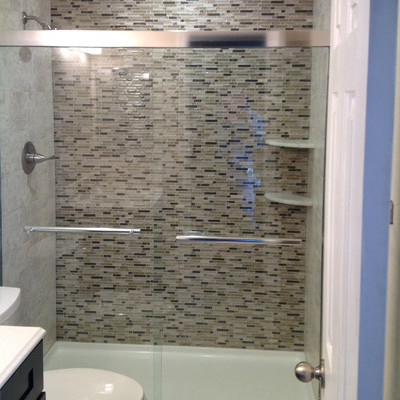 bathroom remodel parker co glass tile shower wall parker remodel new