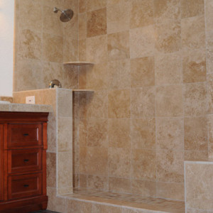 Large Shower with Travertine Tile