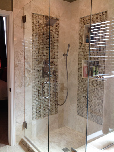 Master shower decorative tile inlay all about bathrooms for Decorative tile bathroom ideas