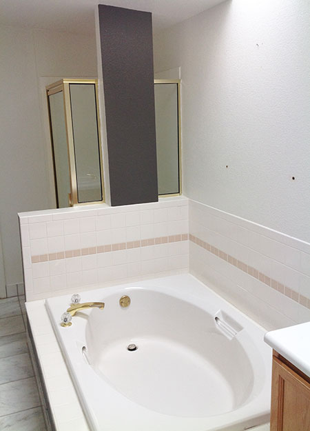 Parker bath reno before all about bathrooms for Bathroom remodel reno nv