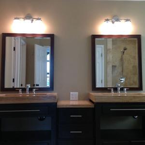 Unique Double Vanity with Travertine Counters