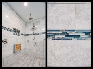 Master bathroom shower remodel - before and after view 2