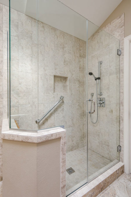 Glass Doors and Gorgeous Hand-Held Shower Fixture